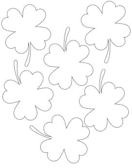 3 four leaf clover with stem