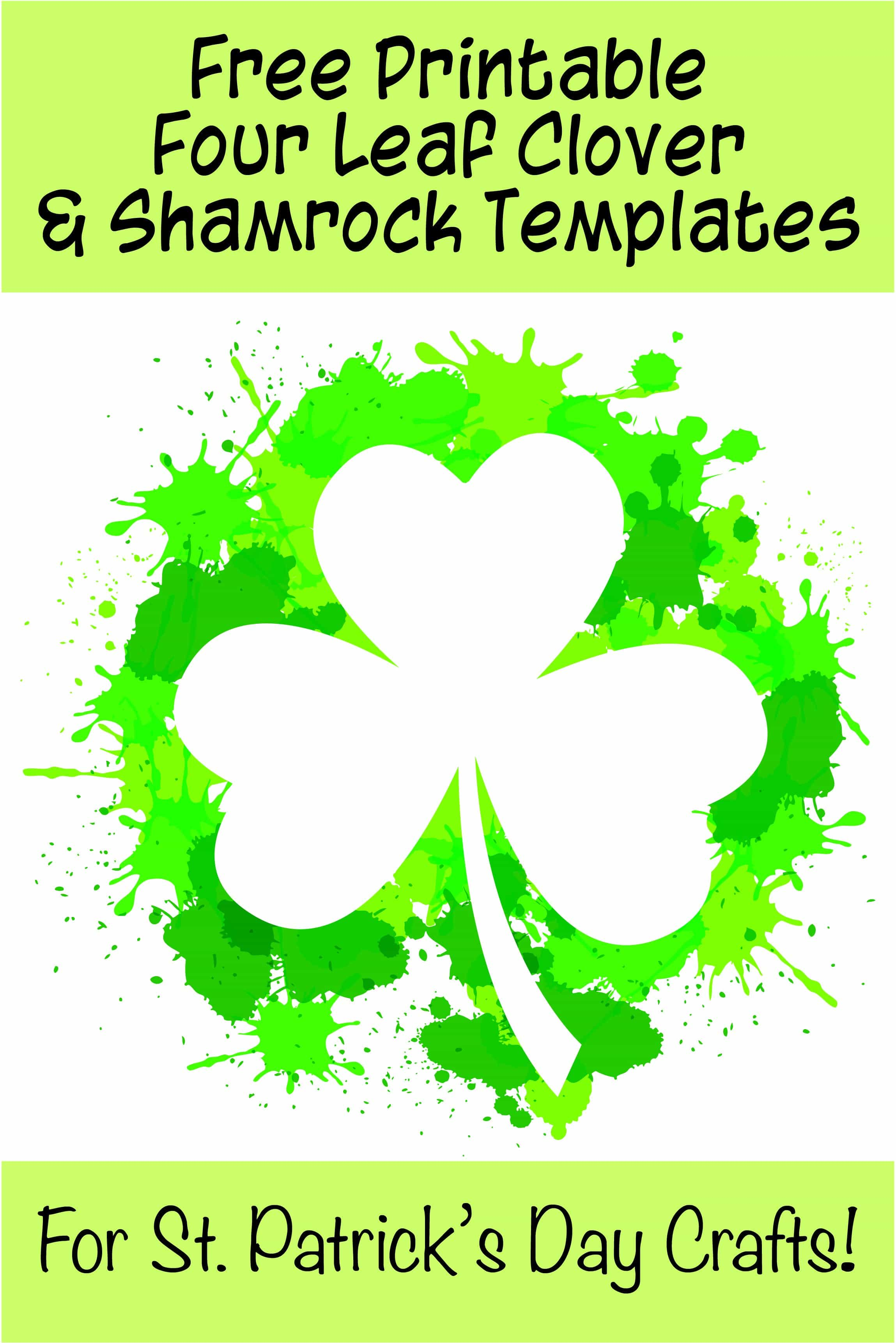 free printable four leaf clover templates for St Patrick's Day crafts