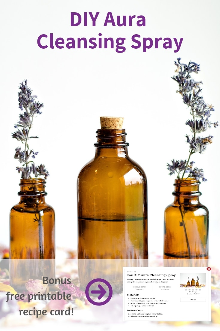 Raise your vibration with this DIY Aura Cleansing Spray. Learn about aura cleansing essential oils and how to remove negative energy from your mind #essentialoils #raiseyourvibration