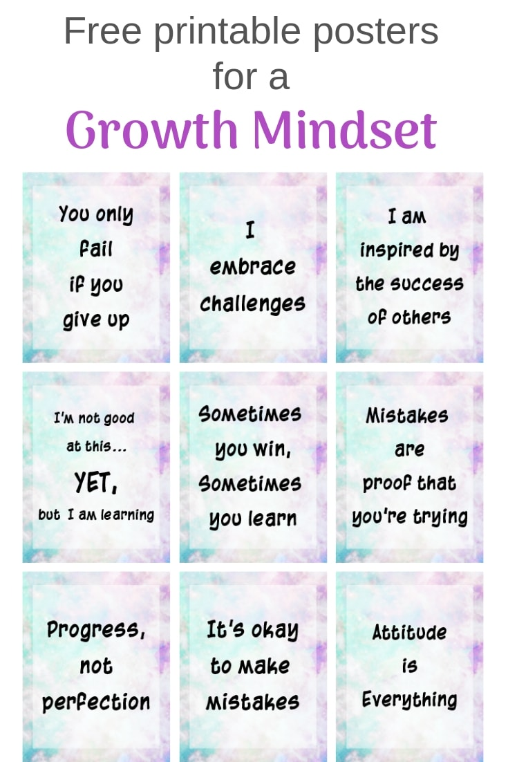 These growth mindset printable are great for your home or classroom.Grab these growth mindset bulletin board printables! Free printable posters for a growth mindset with a galaxy background #freeprintable #growthmindset