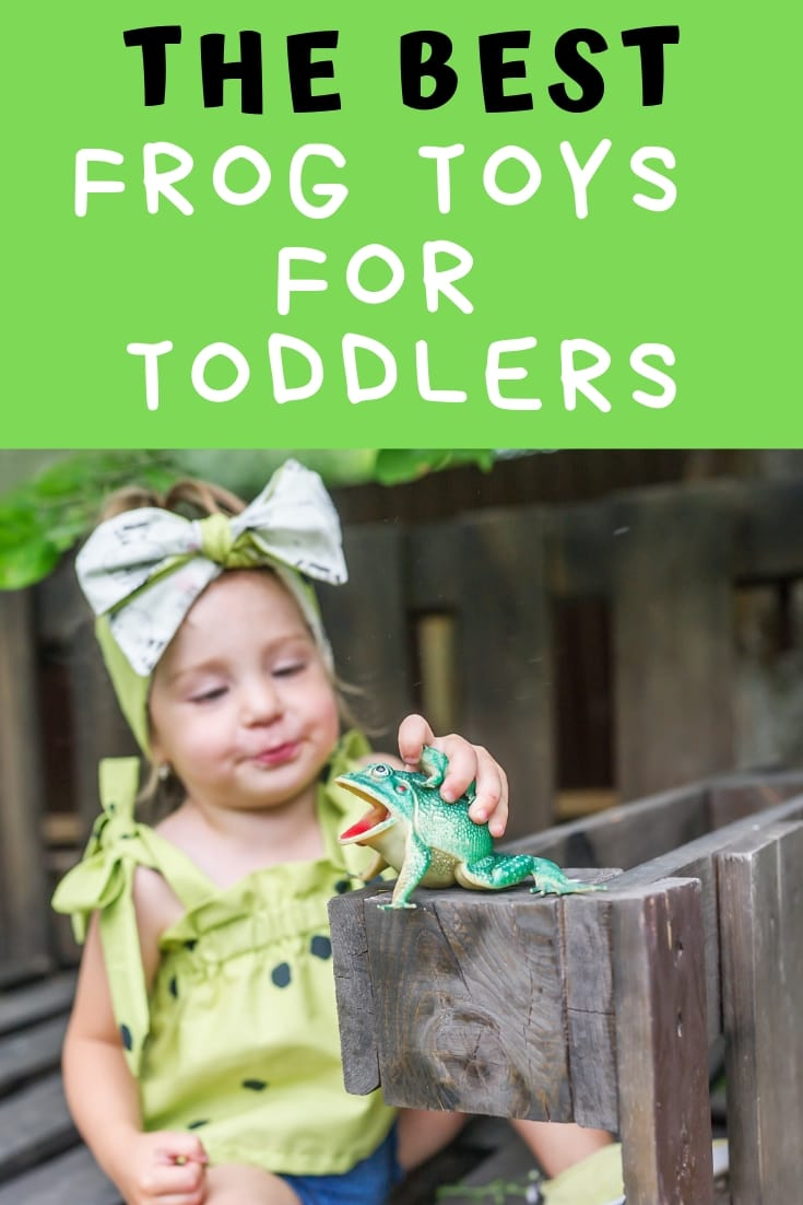 """Toddler playing with plastic frog with caption """"the best frog toys for toddlers"""""""
