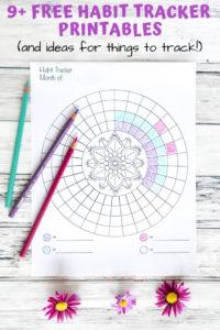 Free habit tracker printables - circular mandala habit tacker