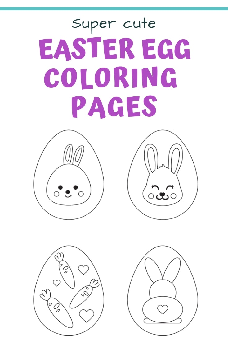 Super cute free printable Easter egg coloring pages with Easter bunnies and carrots!