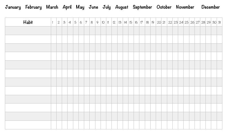 monthly habit tracker free printable