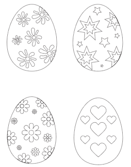 preview of Easter egg free printable coloring pages with flowers stars hearts