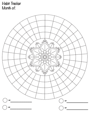 preview of free printable habit tracker printable - mandala tracker with 30 days. Click through for more free printable habit trackers!