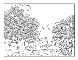 spring coloring page with a bridge over a stream
