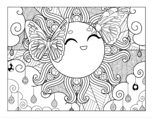 cute sun with butterflies coloring page