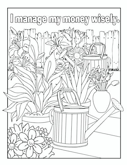 I manage my money wisely coloring page