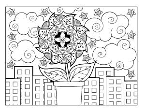 plant-growing-in-city coloring page