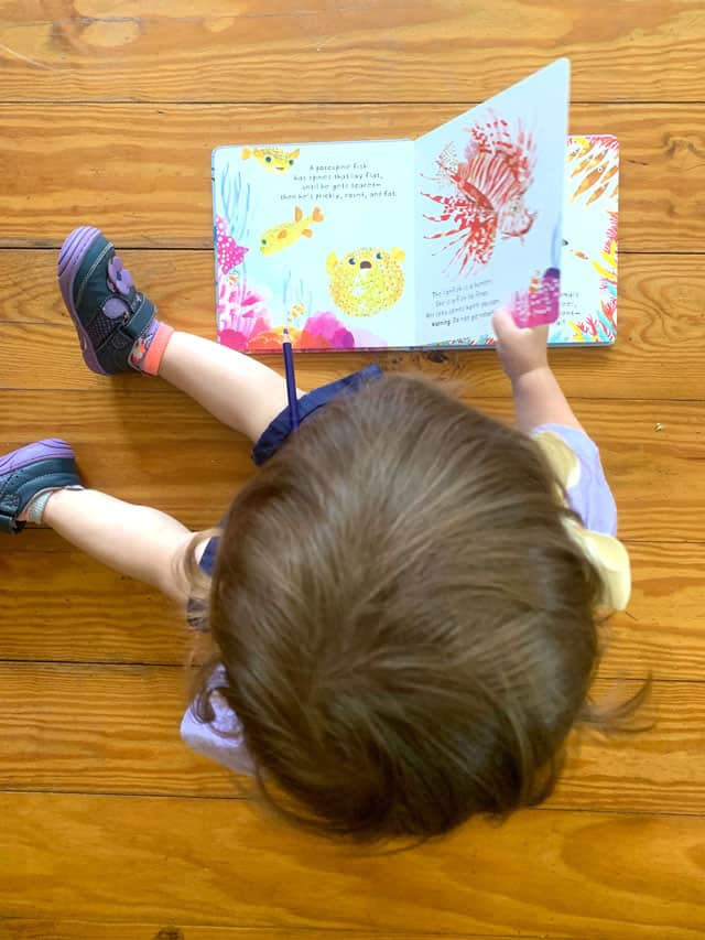 toddler reading a book about fish