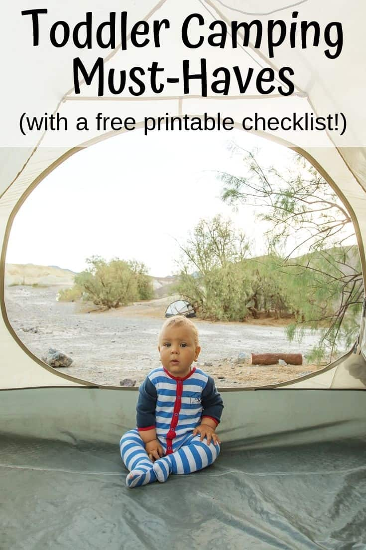 Toddler Camping Must-Haves with a free printable checklist