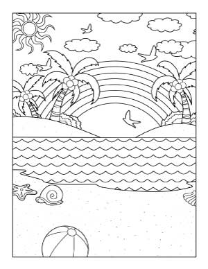 beach-with-a-rainbow-coloring-page