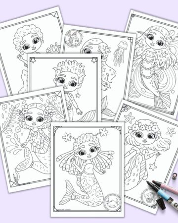 A preview of seven printable cute mermaid coloring pages on a light purple background