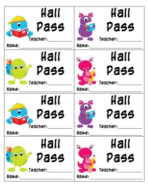 hall-pass-with-monsters-and-space-for-name