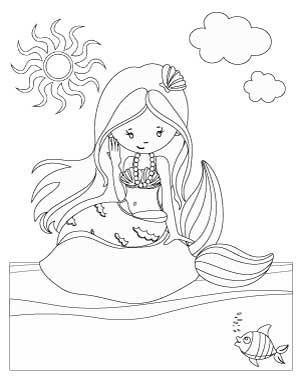 mermaid-on-a-rock-coloring-page