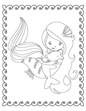 mermaid-with-dolphin-coloring-page