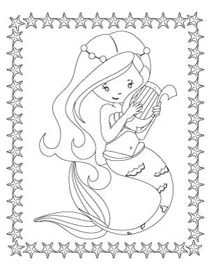 mermaid-with-lyre-coloring-page