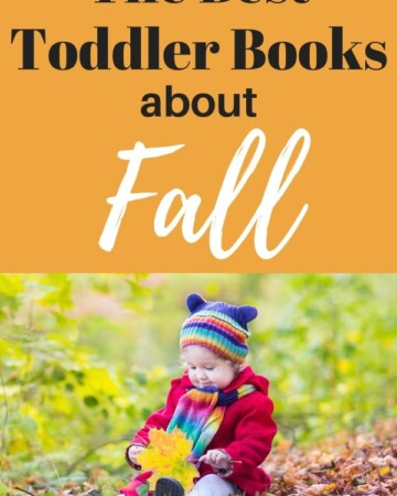 The best toddler books about fall - text overlay with photo of young girl playing in leaves