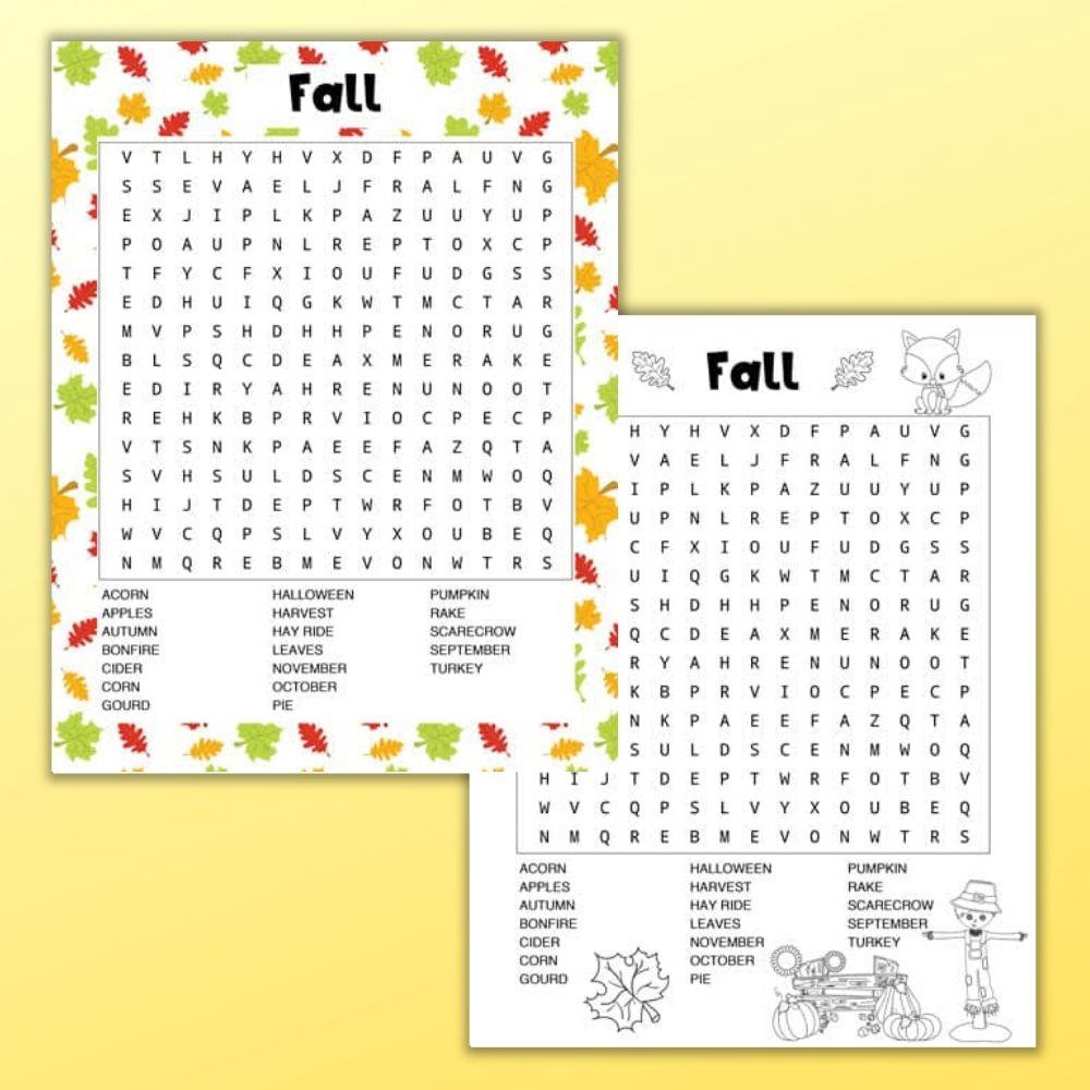 Free Printable Free Printable Fall Word Search Color Black And White The Artisan Life