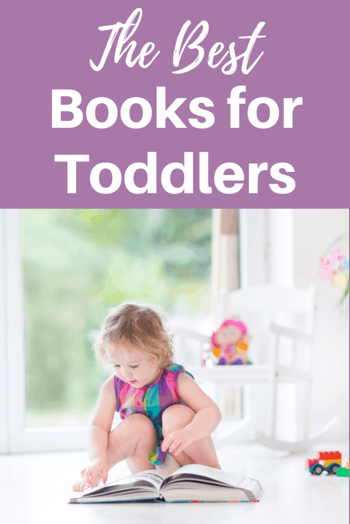 The best books for toddlers written in white on a purple background. Below the text is a picture of a young girl toddler sitting in front of a large book.
