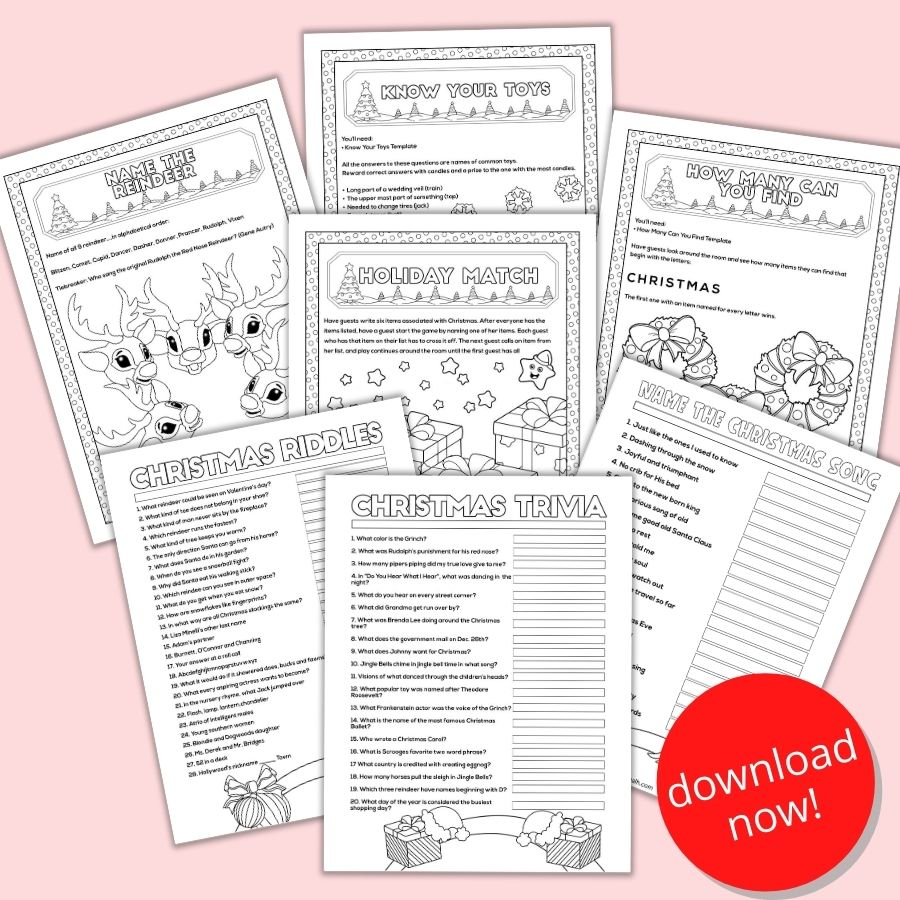 Free Printable Christmas Games For Parties And Families The Artisan Life