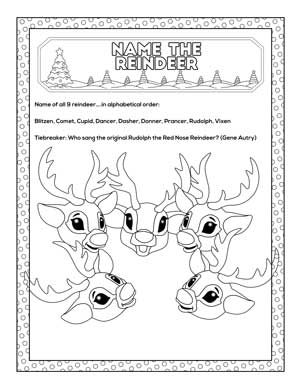name the reindeer game printable with cartoon reindeer faces to color