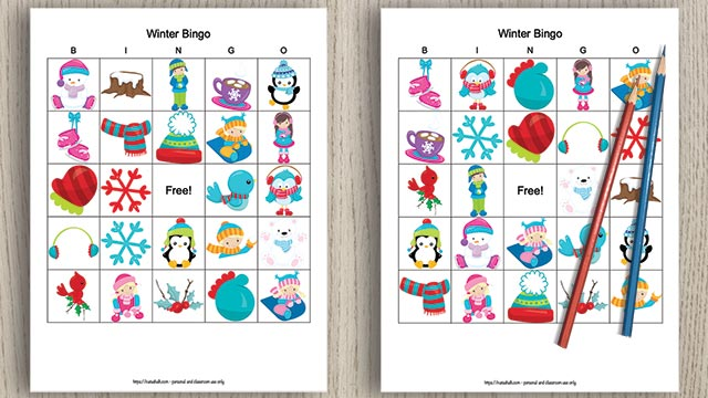free printable winter bingo