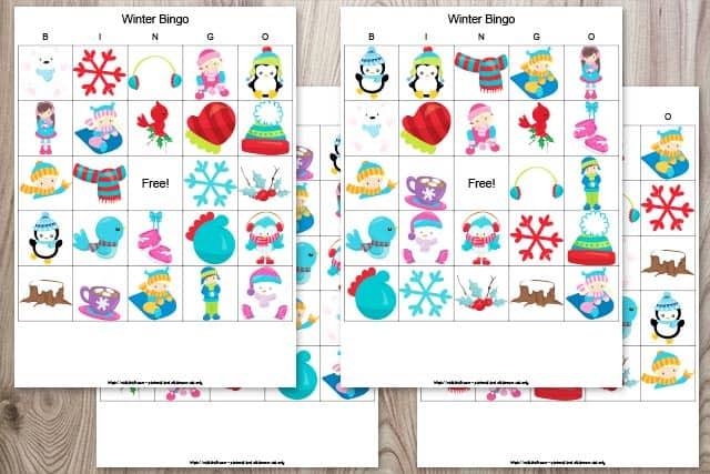 set of 4 winter bingo cards