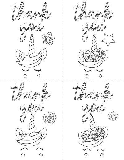 printable unicorn thank you cards