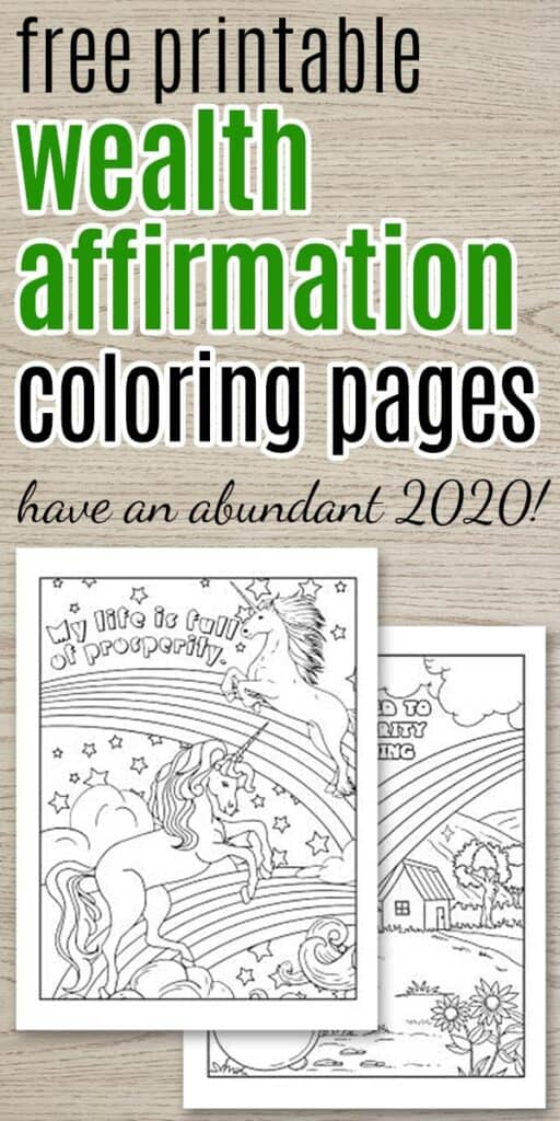 free printable wealth affirmation coloring pages text with two coloring page previews
