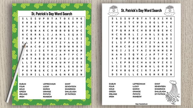 two free printable st patrick's day word searches with a pencil on a wood background