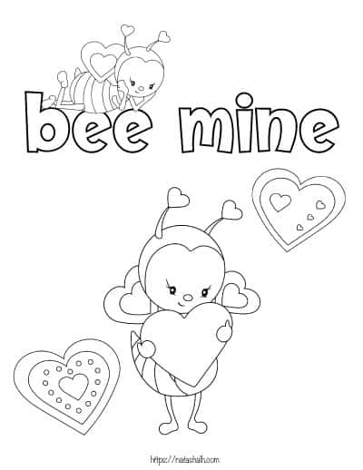 two Valentine's Day bees with hearts coloring page