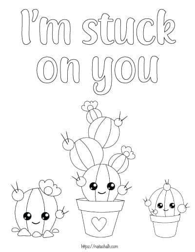 """text """"I'm stuck on you"""" with three cacti to color"""