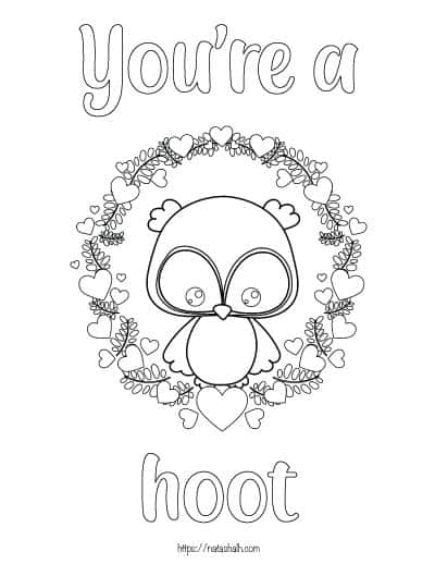 """coloring page with an owl sitting in a wreath and the text """"you're a hoot"""""""