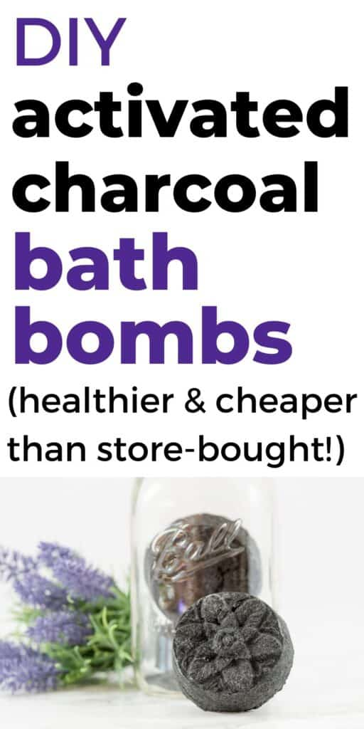"""The text """"DIY activated charcoal bath bombs (healthier and cheaper than store-bought)"""" with a picture of a bath bomb"""