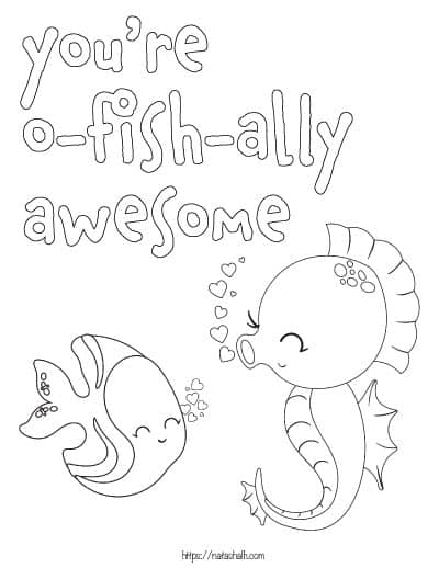"""text """"you're o-fish-ally awesome"""" with a seahorse and a fish to color"""