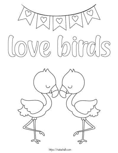 """two flamingoes to color with text """"love birds"""""""