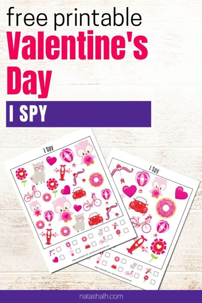 """text """"free printable Valentine's Day I spy"""" with preview of two I spy games"""