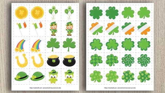 A preview of two free printable St. Patrick's Day matching games with St. Patrick's Day themed illustrations