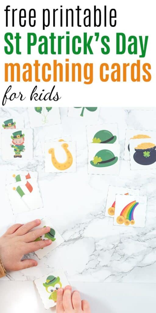 """Text """"free printable St Patrick's Day matching cards for kids"""" with a photo of a toddler's hand reaching for a pair of St. Patrick's Day owl matching cards"""