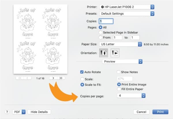 """Print dialogue box with an arrow pointing at """"copies per page"""""""