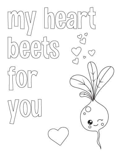 """printable valentine coloring page with a cute beet and text """"my heart beets for you"""""""