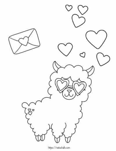 cute llama coloring page with hearts