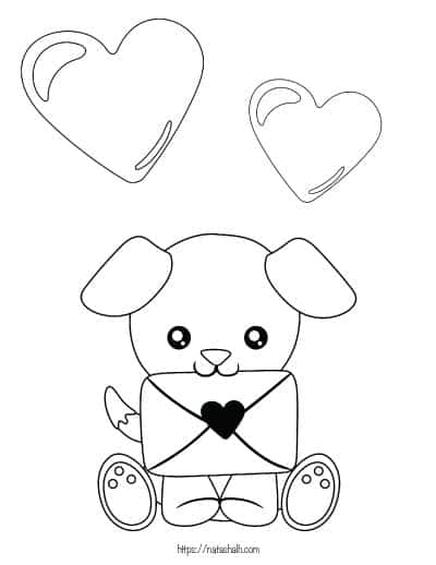 coloring page with a puppy holding a valentine card