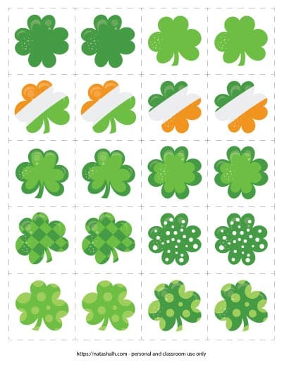 A free printable shamrock matching card game featuring 10 different shamrock images