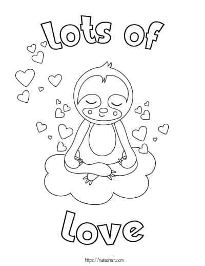 sloth valentine coloring page printable