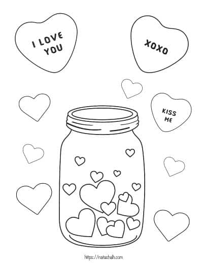 Jar with hearts and candy hearts to color