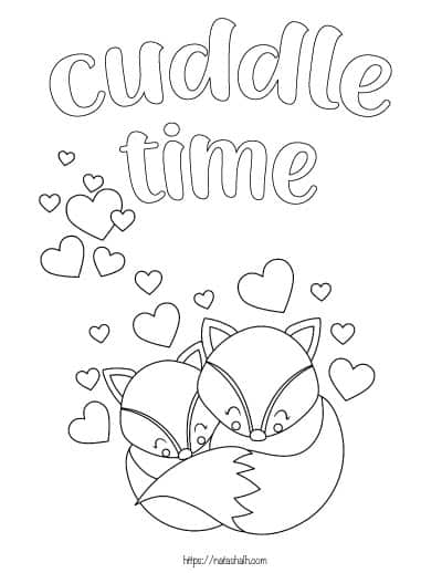 coloring page of two foxes cuddling with hearts