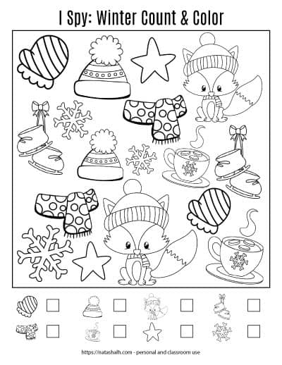 Winter cut and color worksheet for preschool